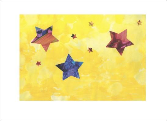 Kunstkarte Gelber Sternenhimmel