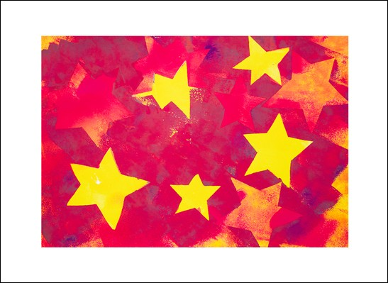 Kunstkarte Sternenrot