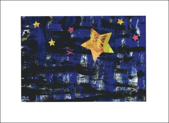 Kunstkarte Blauer Sternenhimmel