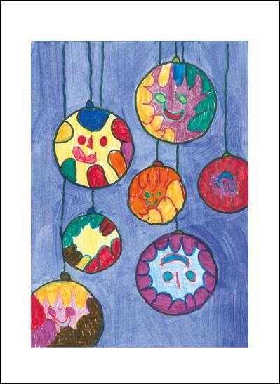 Kunstkarte Glücklicher Weihnachtsschmuck