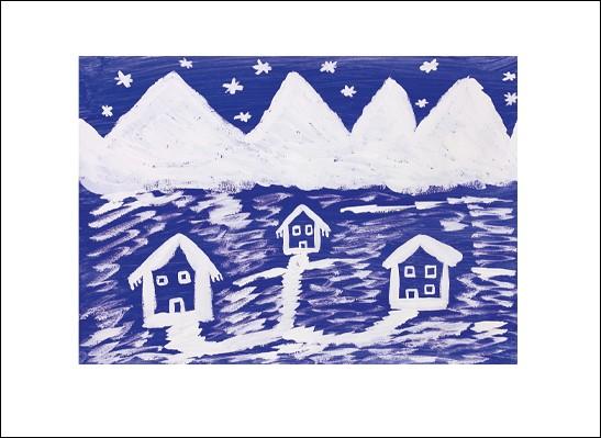Kunstkarte Hütten im Schnee